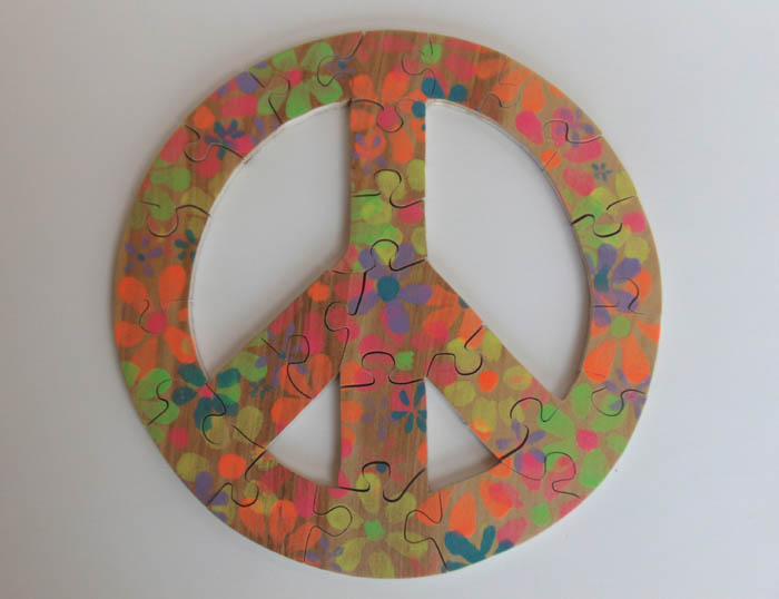 Hand Painted Peace Sign Wood Puzzle Childrens Spring Puzzle